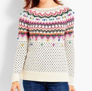 NWOT Talbots Fair Isle Pom Pom Sweater Size XL